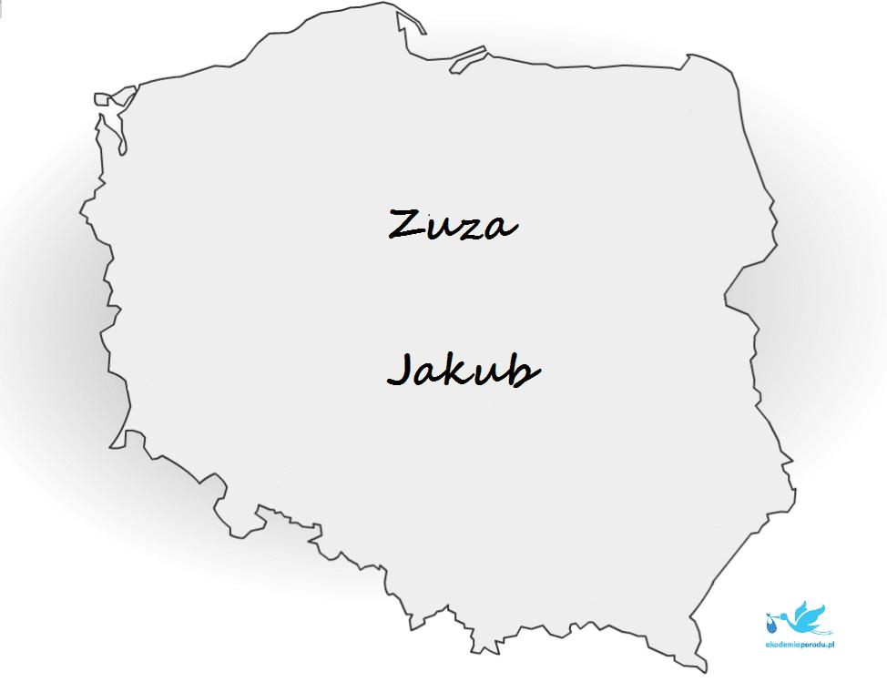 Najpopularniejsze imiona w Polsce w 2015 - MAPA