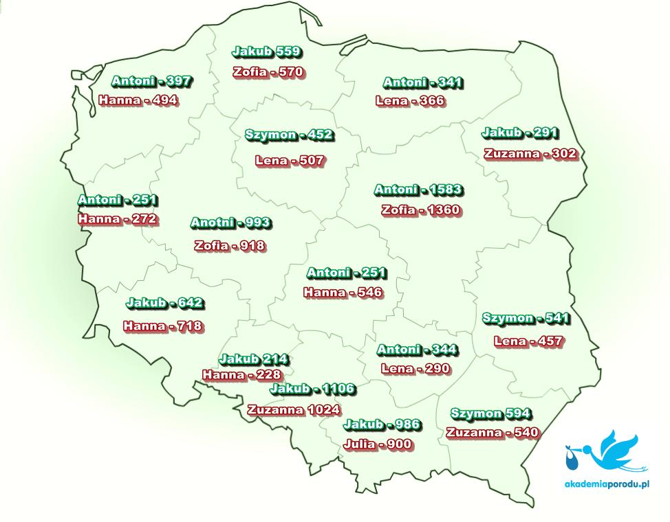 Najpopularniejsze imiona 2016 - mapa województw